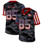 Custom Football San Francisco 49ers #85 George Kittle Stitched 2020 Camo USA Flag Salute to Service Limited Jerseys